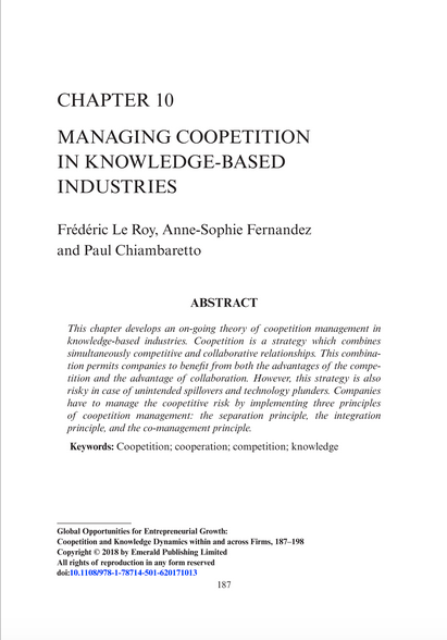 My chapter on Managing Coopetition in Knowledge-based industries