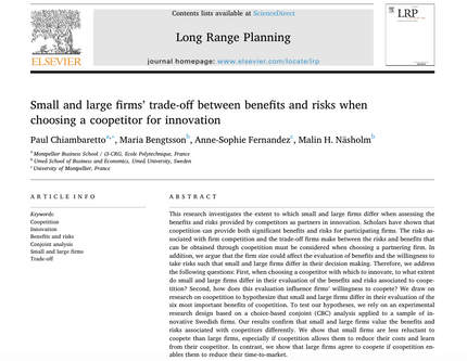 Our new research article in Long Range Planning on partner selection in coopetition for innovation
