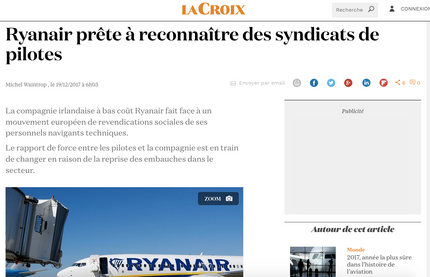 My interview in La Croix on Ryanair and labor unions