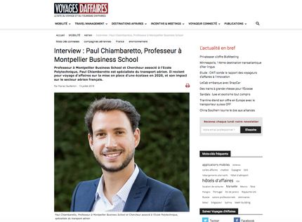 My interview in Voyages d'Affaires about the environmental challenges encountered by airlines