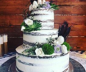 Wedding Work. 3 tier semi-naked cake wit