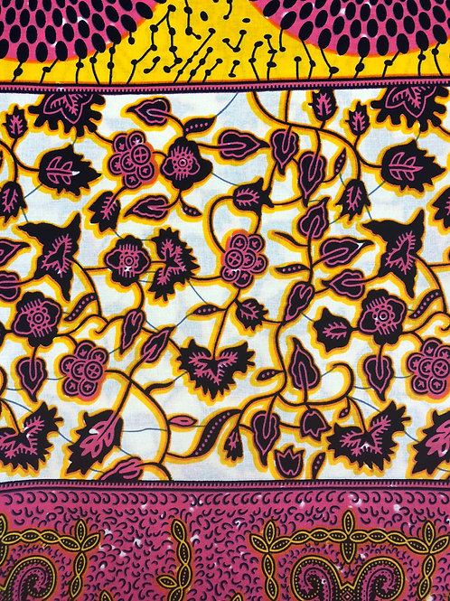 PINK FLORAL WAX FABRIC