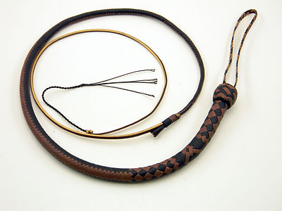 Brandy and Natural 16 Plait Snake Whip
