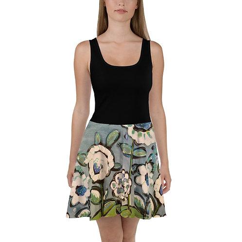 Sparkling Blue Florals/ Black Tank Top Dress