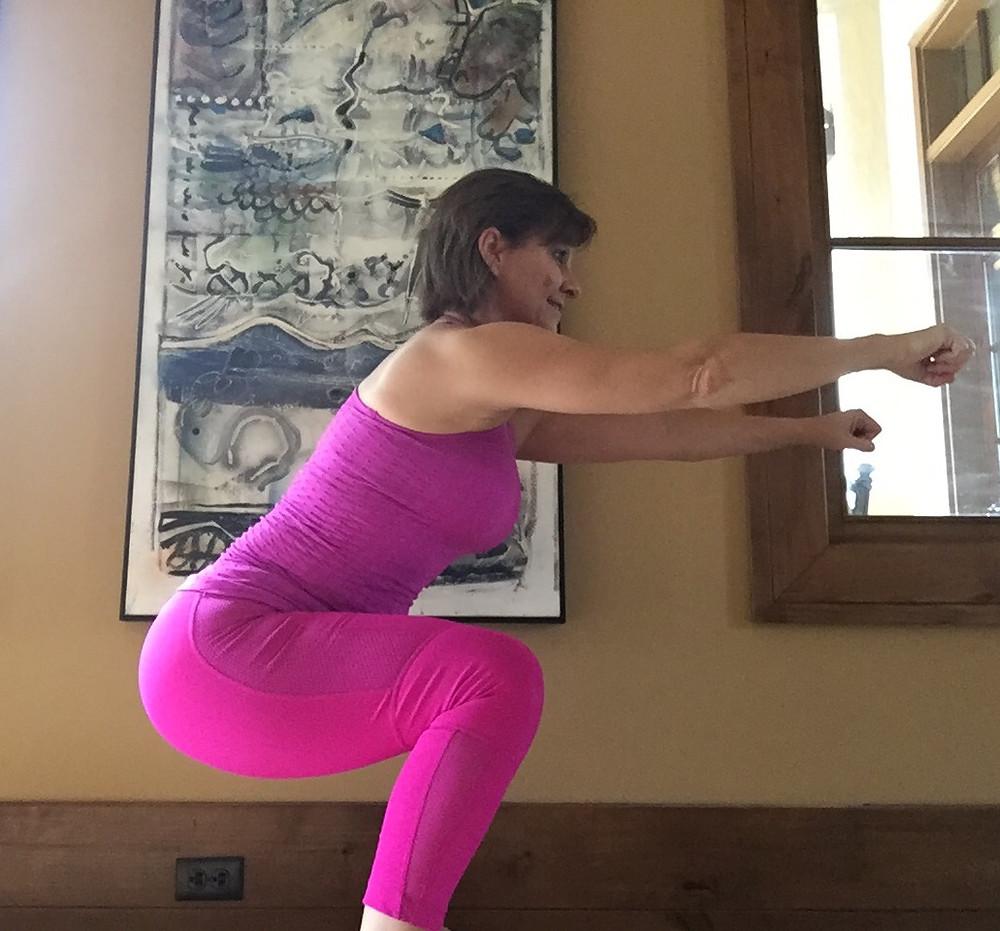 Hip backs, femur parallel with floor, shoulders back, look forward.