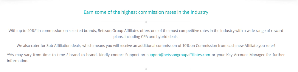 Betsson Group's affiliate Commission Description