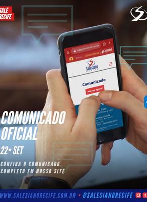 Comunicado Oficial | 22/09/2020 - retorno às aulas presenciais