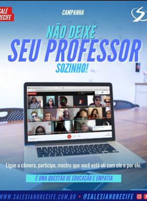 """Estudantes do Salesiano Recife aderem à campanha """"Não deixe seu professor sozinho"""""""