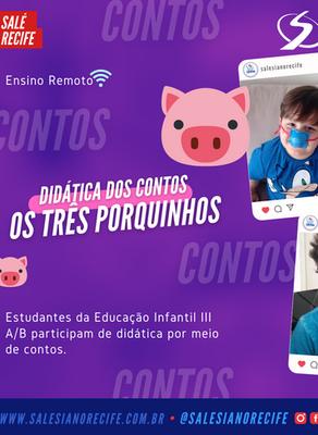 Aula Remota: Estudantes do Infantil III participam de didática por meio de contos