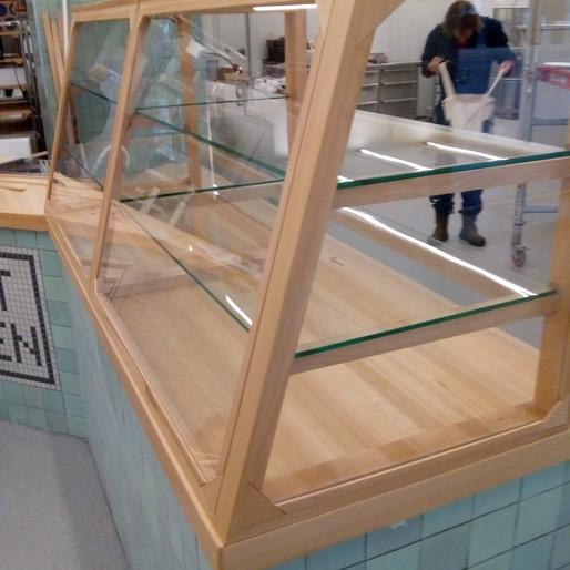 Glass and beechwood display case