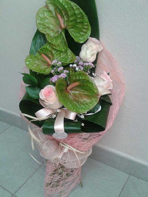 Mazzo 3 anthurium e 3 rose