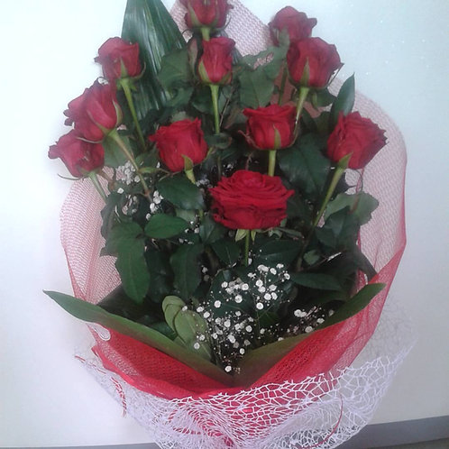 Mazzo 11 rose rosse gambo corto (60cm)