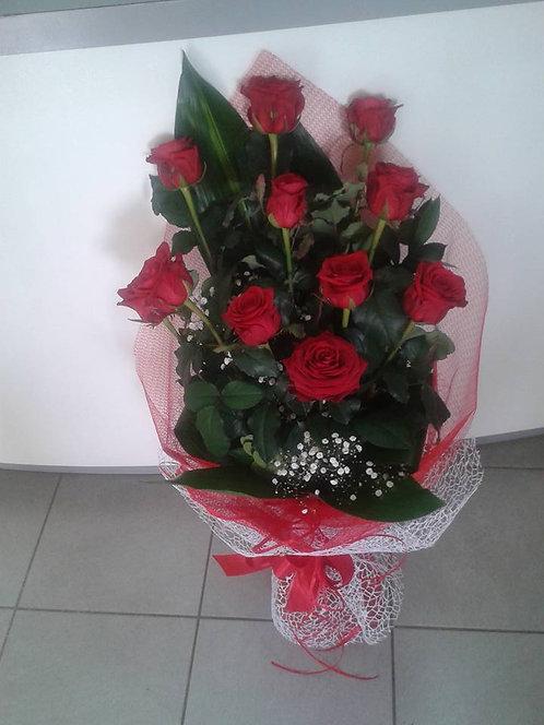 Mazzo 11 rose rosse gambo lungo (90cm)