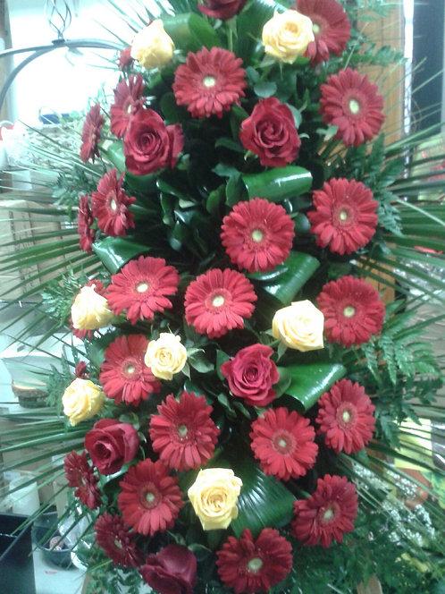 Cuscino funebre da appendere di gerbere e rose