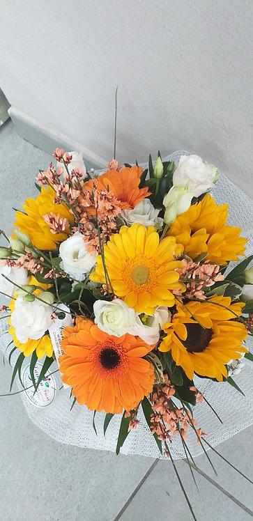 Bouquet di girasoli, gerbere e lisianthus