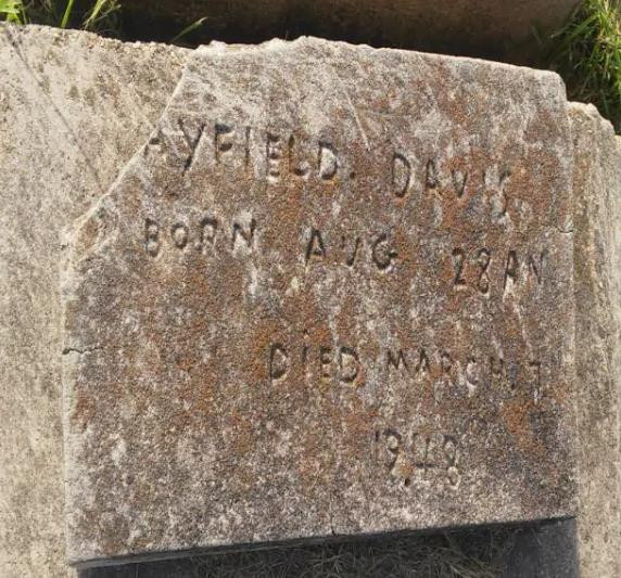 The gravestone of Rayfield Davis. (Courtesy of Nichole Ulmer)