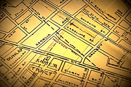Montauk Avenue, Old Hand-drawn Map, City of Mobile, 1911