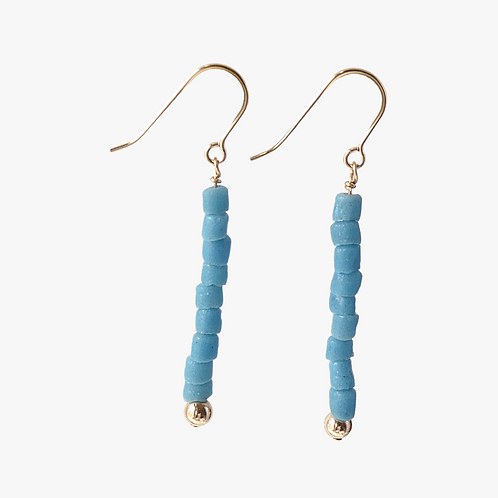 Gold filled drop earrings with tiny handmade glass beads
