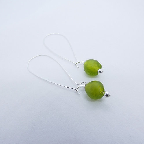 nwura handmade glass bead and sterling silver earrings