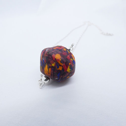 kɔnmuadeɛ 2 handmade recycled glass bead and recycled silver pendant