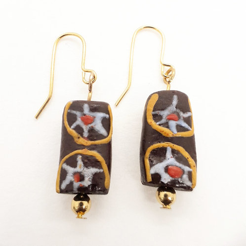 akokyɛm hand painted recycled glass bead and gold plated earrings