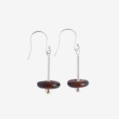 mmi3nsa sterling silver drop earrings with small brown glass  beads