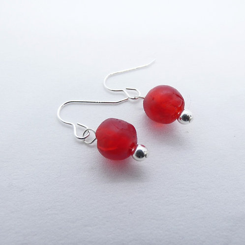 mogya handmade recycled glass beads and sterling silver earrings