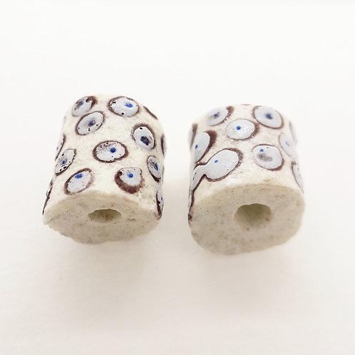 aba bruu white handmade recycled glass bead