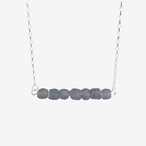 mmi3nsa recycled silver and small  ash recycled glass bead necklace