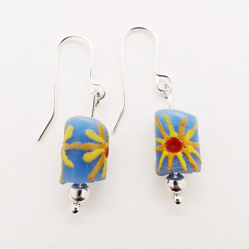 awia bruu hand painted recycled glass bead and silver plated earrings