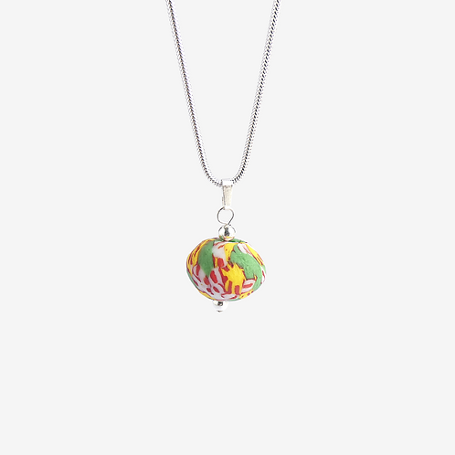 mmi3nsa sterling silver snake chain with a multi coloured green glass bead pendant