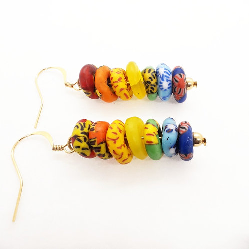 nyankontɔn 2, rainbow handmade recycled glass beads and gold plated earrings side view