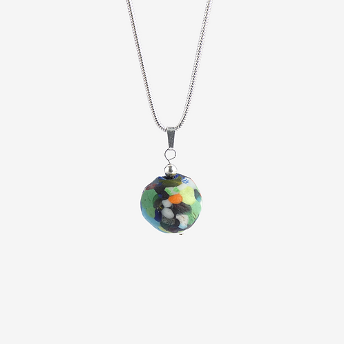 mmi3nsa sterling silver snake chain and a multi coloured glass bead pendant