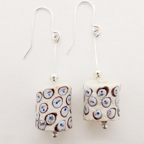 aba bruu hand painted recycled glass bead and silver plated earrings