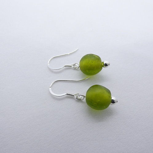 nwura handmade recycled glass beads and sterling silver earrings