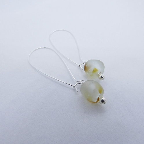 nsuo 3 handmade recycled glass bead and sterling silver earrings