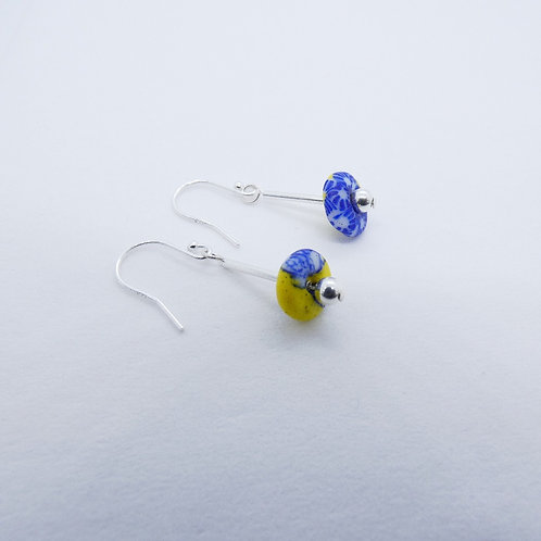 ahwenneɛ 7 recycled glass beads and sterling silver earrings