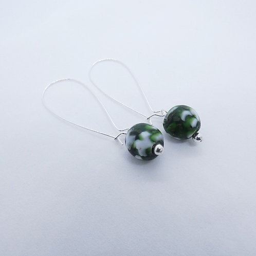 nkatasoɔ 1 recycled glass bead and sterling silver earrings