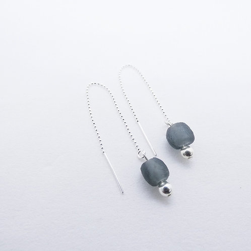 bidie  handmade recycled glass and sterling silver earrings