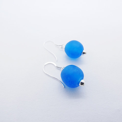 ewiem handmade recycled glass beads and sterling silver earrings