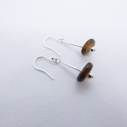 ahwenneɛ 13 recycled glass beads and sterling silver earrings
