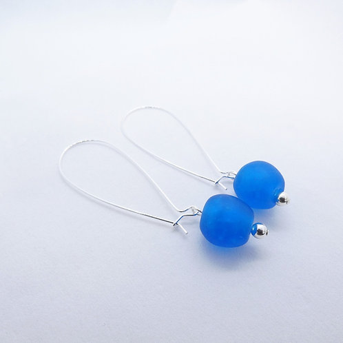 ewiem handmade recycled glass bead and sterling silver earrings