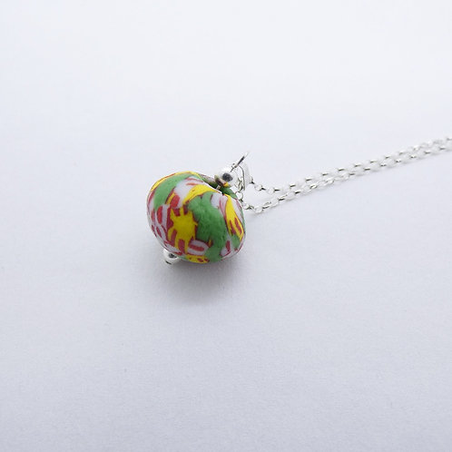 kɔnmuadeɛ 5 handmade recycled glass bead and recycled silver pendant