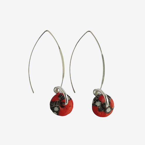mmi3nsa sterling silver drop earrings with small red beads
