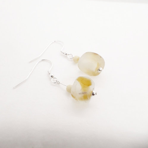 nsuo 3 handmade recycled glass beads and sterling silver earrings