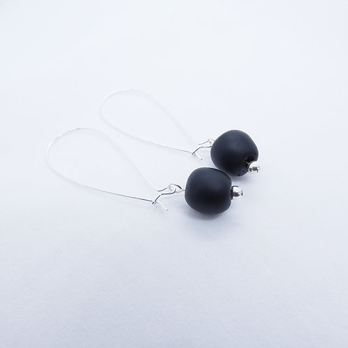 tuntum 2 handmade recycled glass bead and sterling silver earrings