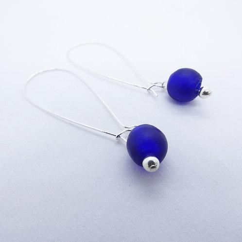 anadwo handmade glass bead and  sterling silver earrings