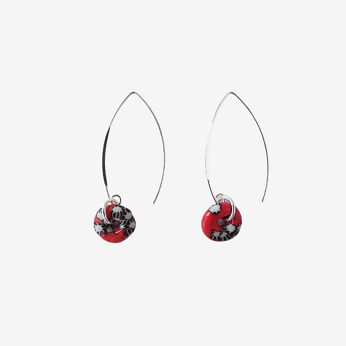 Sterling silver earrings with handmade recycled glass beads