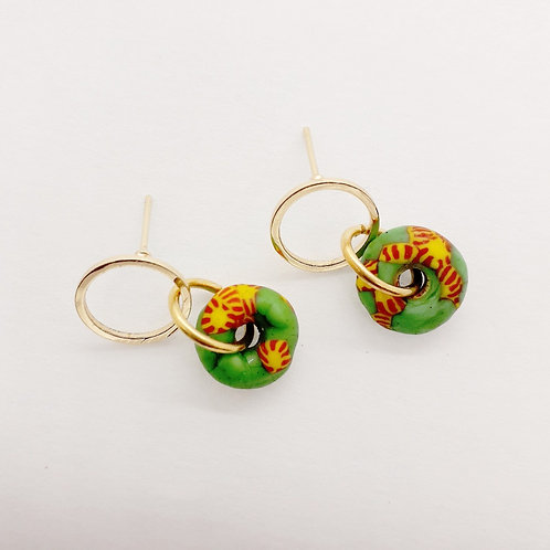 ahwenneɛ 3, patterned recycled glass bead and gold plated earrings