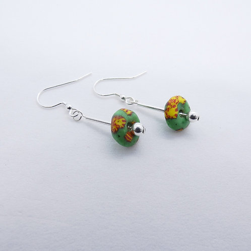 ahwenneɛ 3 recycled glass beads and sterling silver earrings